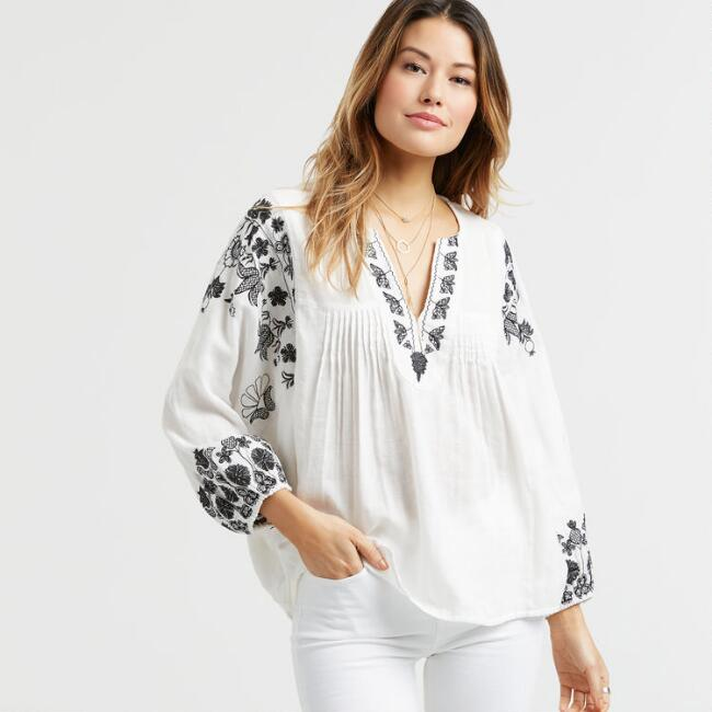 White Embroidered Butterfly Top
