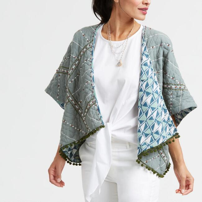Sage Green Embroidered Quilted Jacket