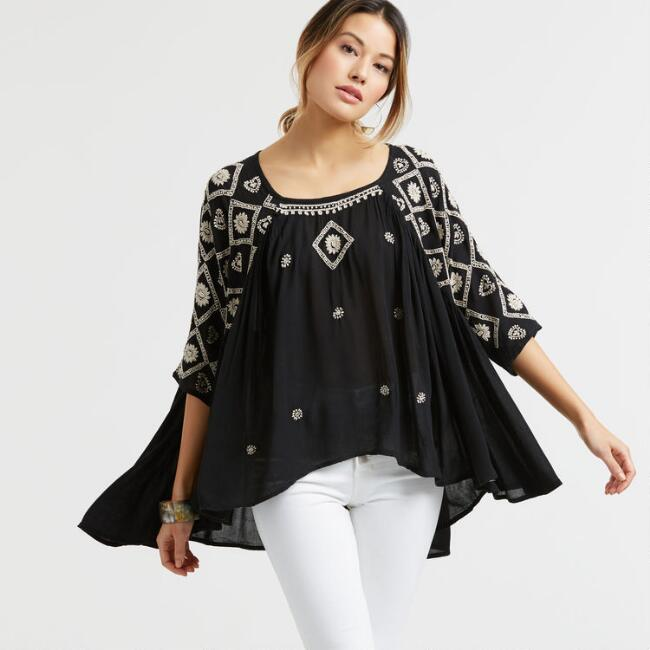 Black and White Embroidered Drew Top