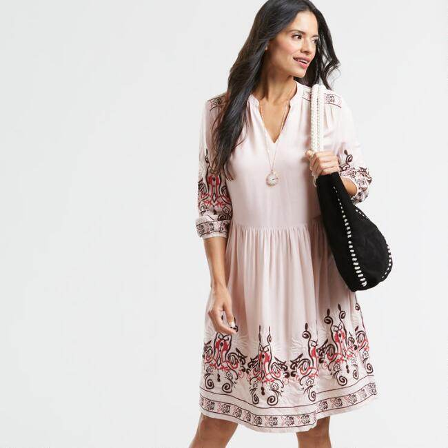 Blush Pink Embroidered Kara Peasant Dress