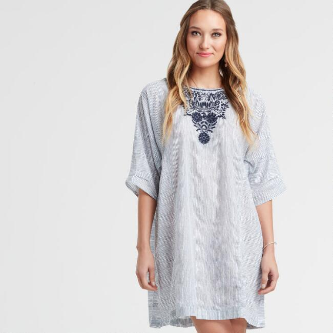 Blue and White Printed and Embroidered Striped Lula Dress
