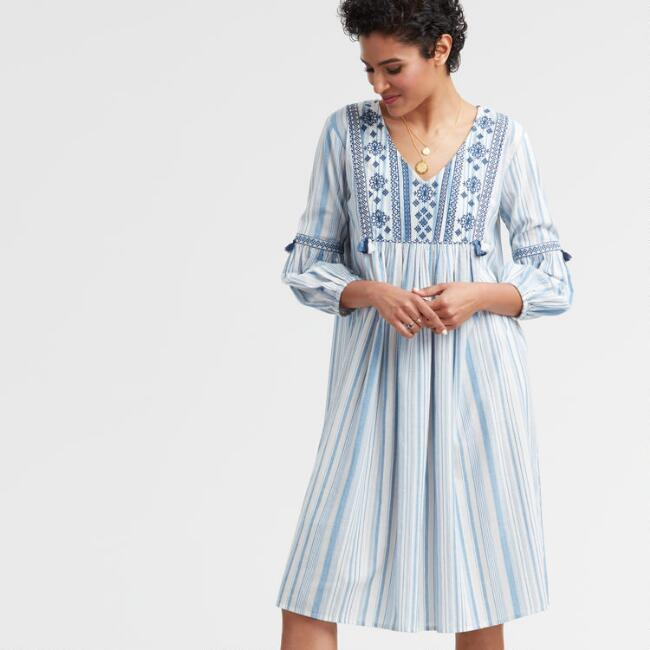 Blue and White Embroidered Stripe Kate Dress
