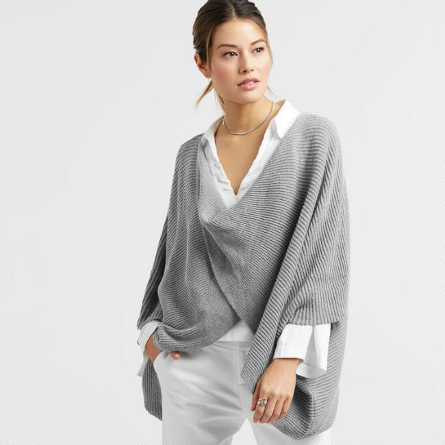 Gray Knit Twisted Poncho Sweater
