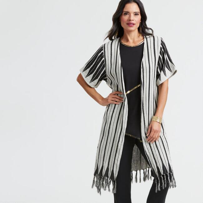 Black and White Striped Woven Open Front Jacket