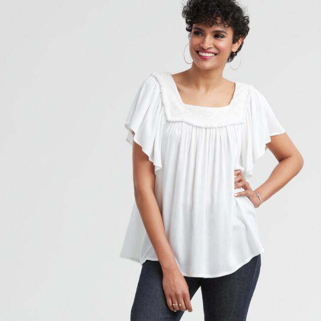 White Embroidered Mara Top