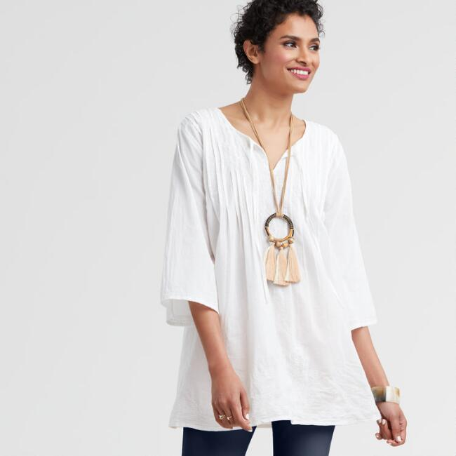 White Embroidered Tara Tunic