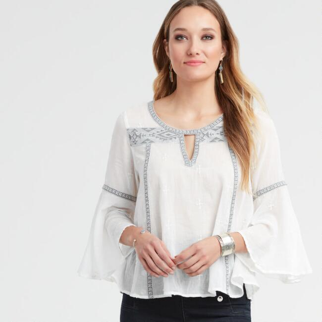 White Embroidered Mica Top