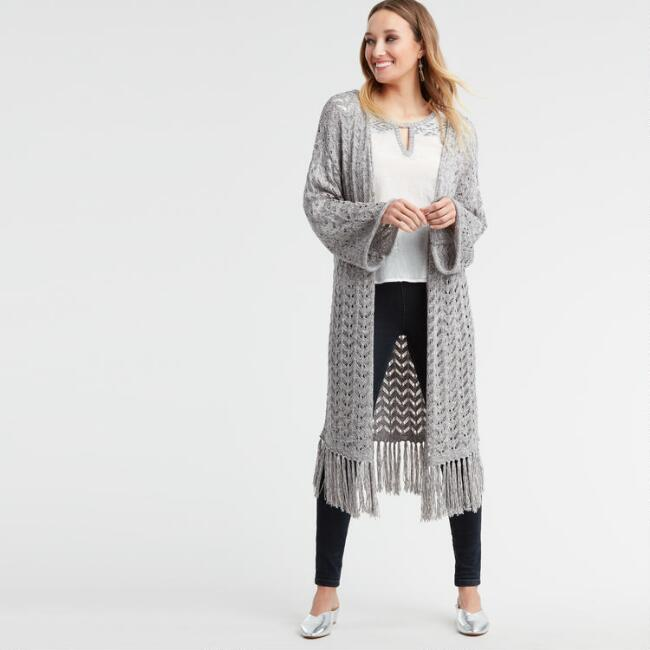 Marled Gray Sana Open Front Sweater