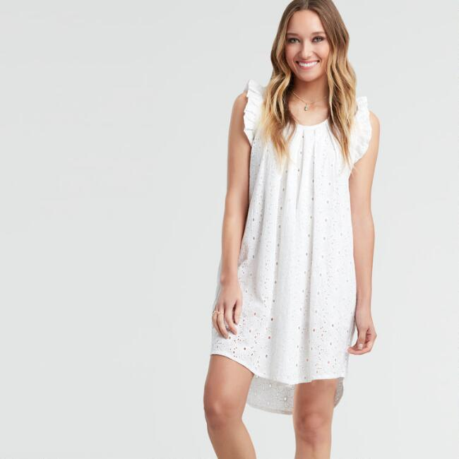 White Embroidered Eyelet Butterfly Dress