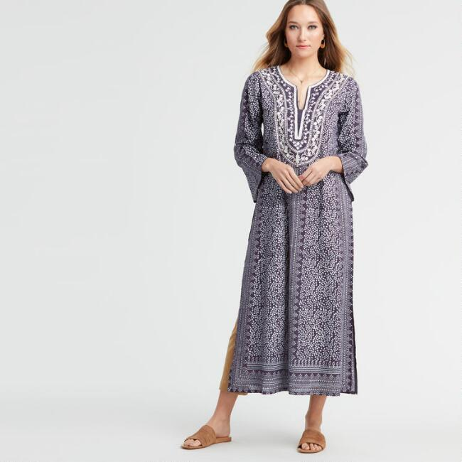 Navy and White Embroidered Fiji Kaftan Dress