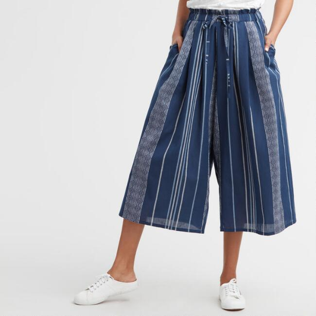 Navy and White Stripe June Culottes with Pockets