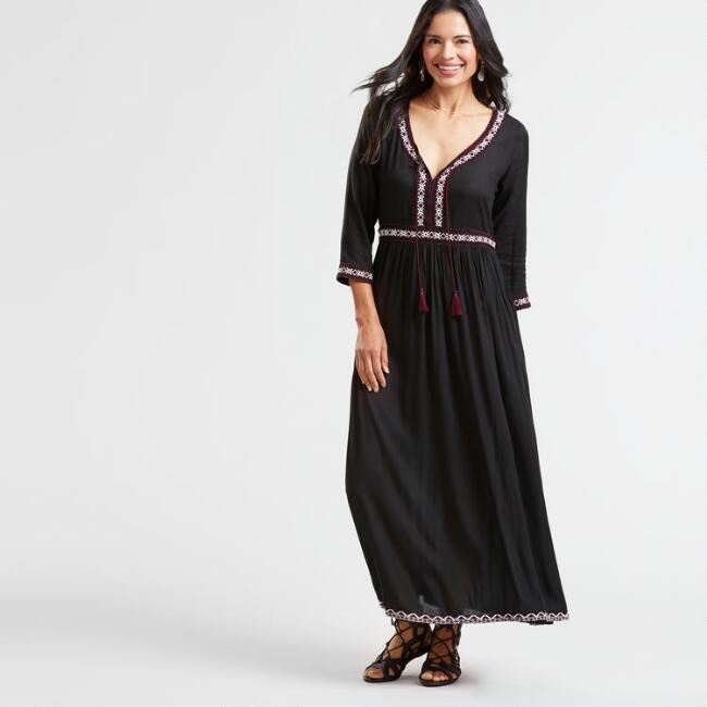 Black Embroidered Sofia Peasant Dress