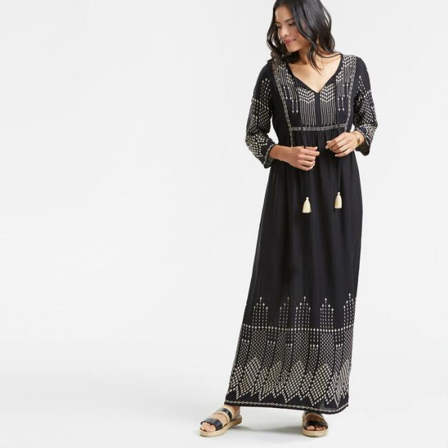 Black Embroidered Lauryn Maxi Dress
