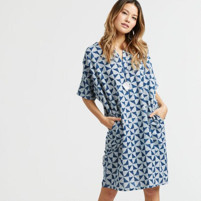Indigo Geometric Triangle Print Dress with Pockets