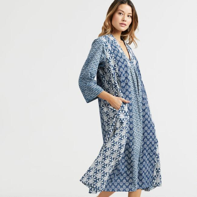 Indigo Mix Print Dress