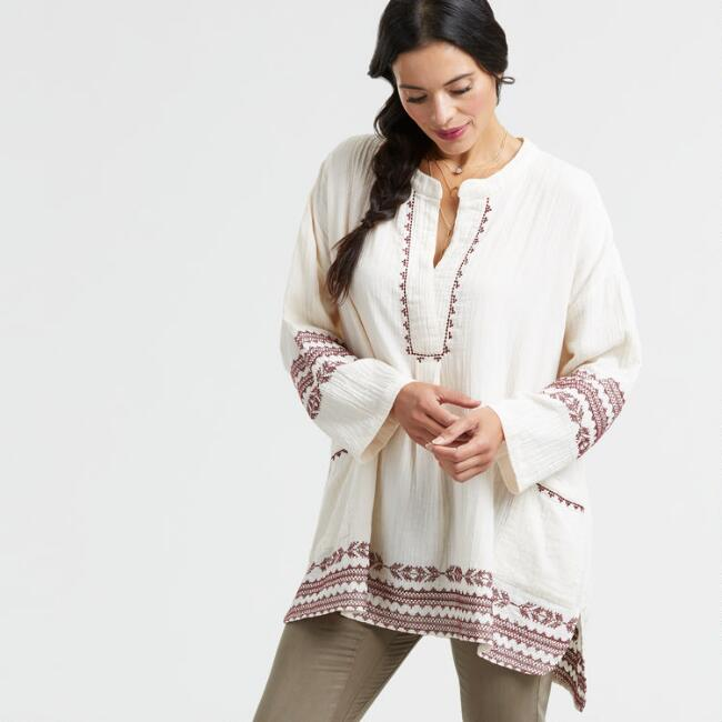 Ivory Embroidered Brienne Tunic
