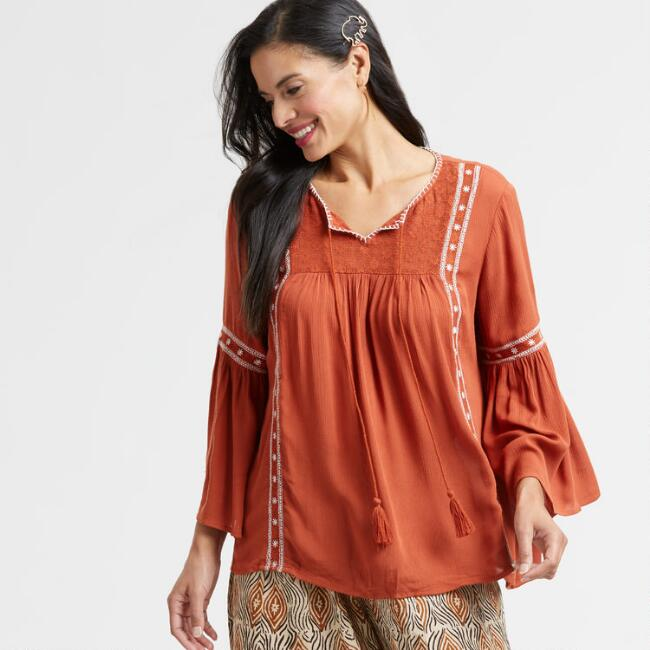 Terracotta Lace Rose Peasant Top