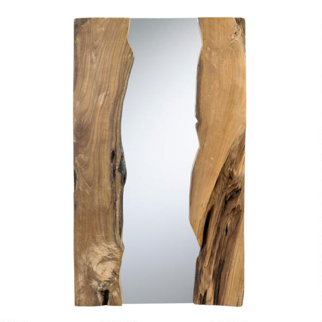 Natural Live Edge Teak Wood Mirror