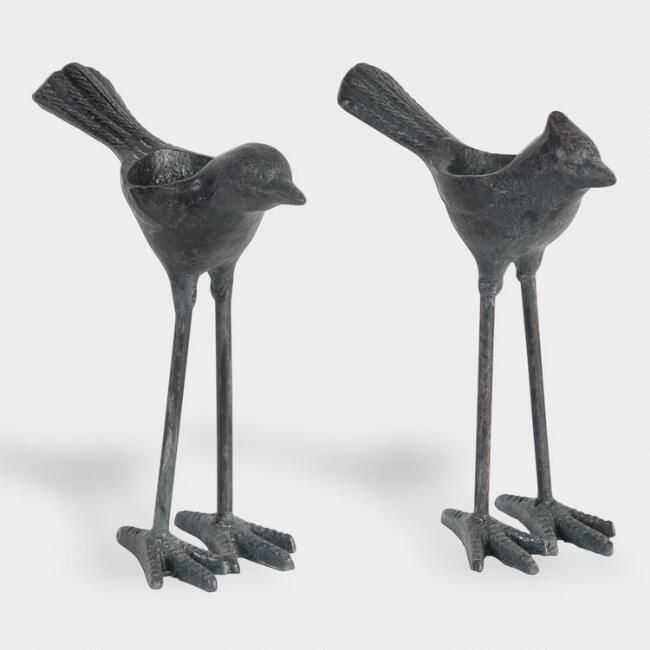 Black Cast Iron Bird Tealight Candleholder Set of 2
