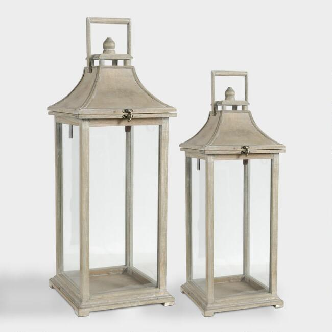 Wood and Glass Ivona Candle Lanterns Set of 2