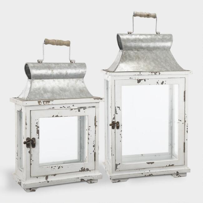 White Wood and Glass Lanterns Set of 2