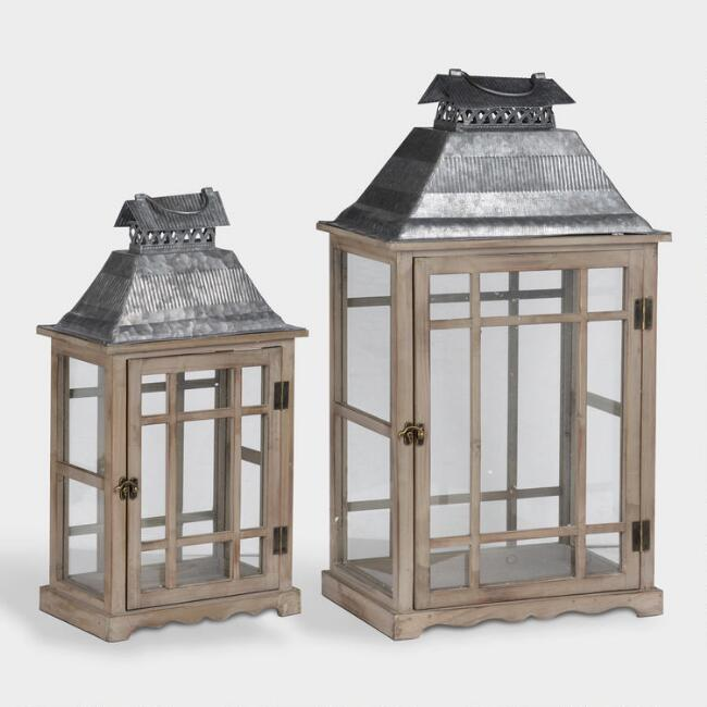 Wood and Glass Window Scape Lanterns Set of 2