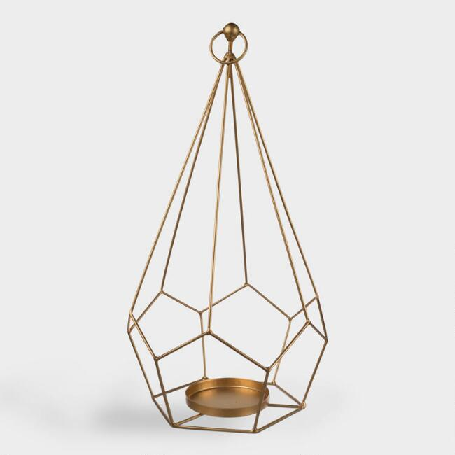 Gold Metal Open Teardrop Tealight Candleholder