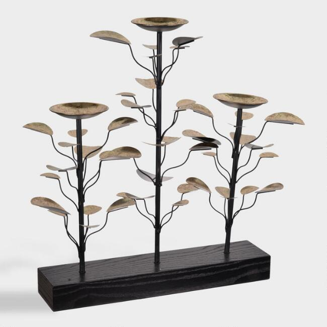 Wood and Metal Leaves 3 Tier Ryder Pillar Candleholder