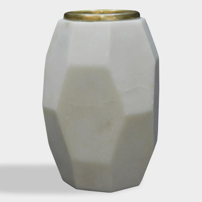 Marble and Gold Geometric Banswara Tealight Candleholder