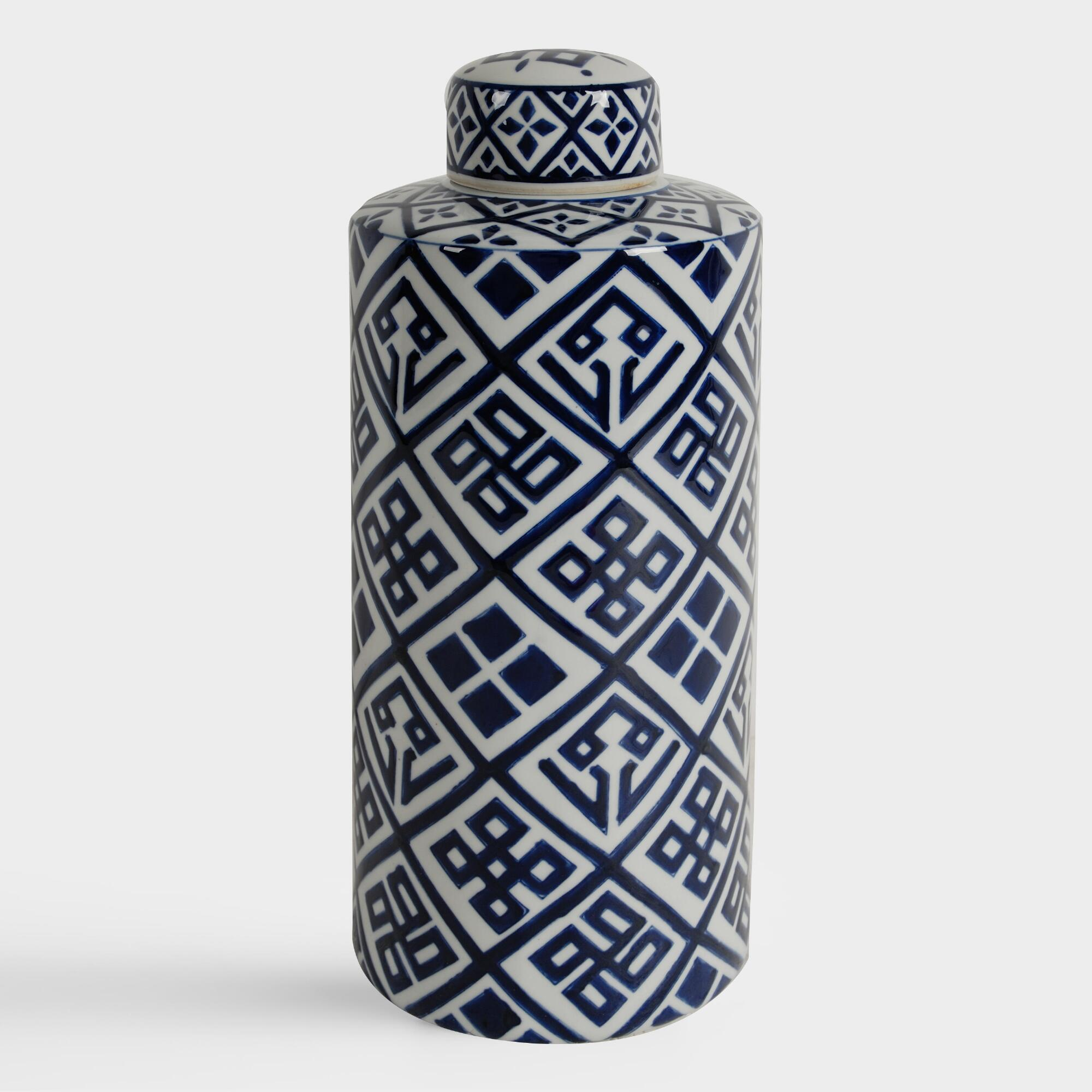 Blue and White Ceramic Cylinder Jars - Small by World Market Small