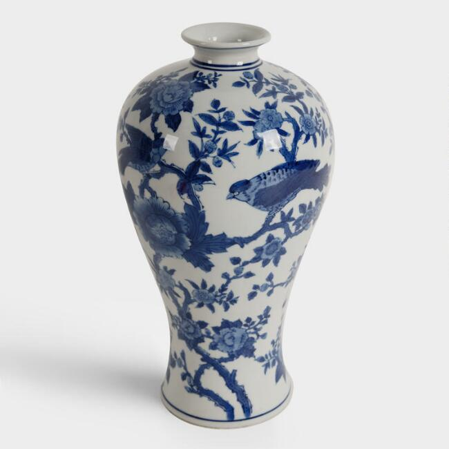 Blue and White Ceramic Bird Vase