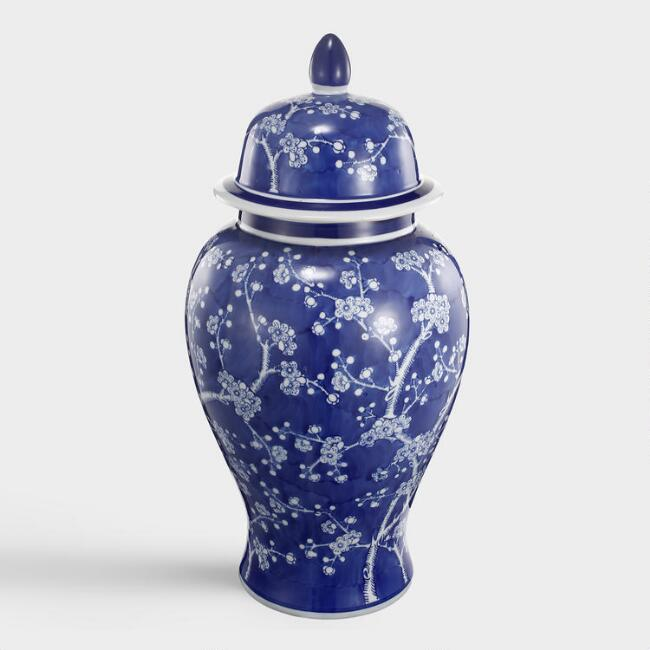 Blue and White Ceramic Cherry Blossom Ginger Jar