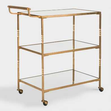 Gold Mirrored 3 Tier Bar Cart