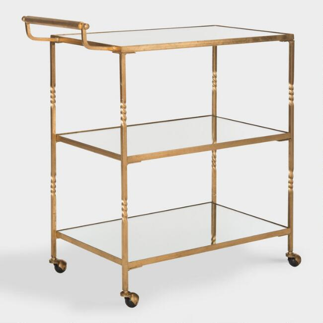 Gold Mirrored Rectangular Bar Cart