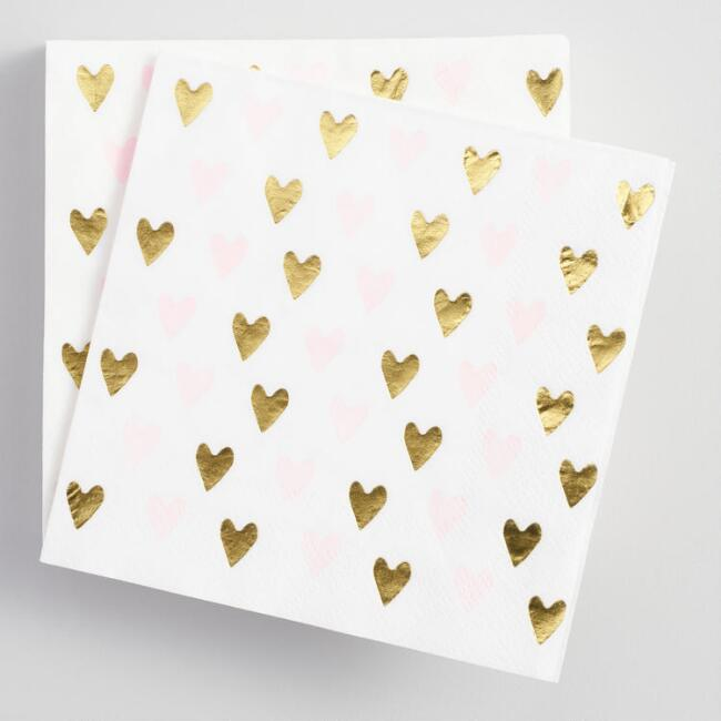 Pink and Gold Heart Beverage Napkins 20 Count