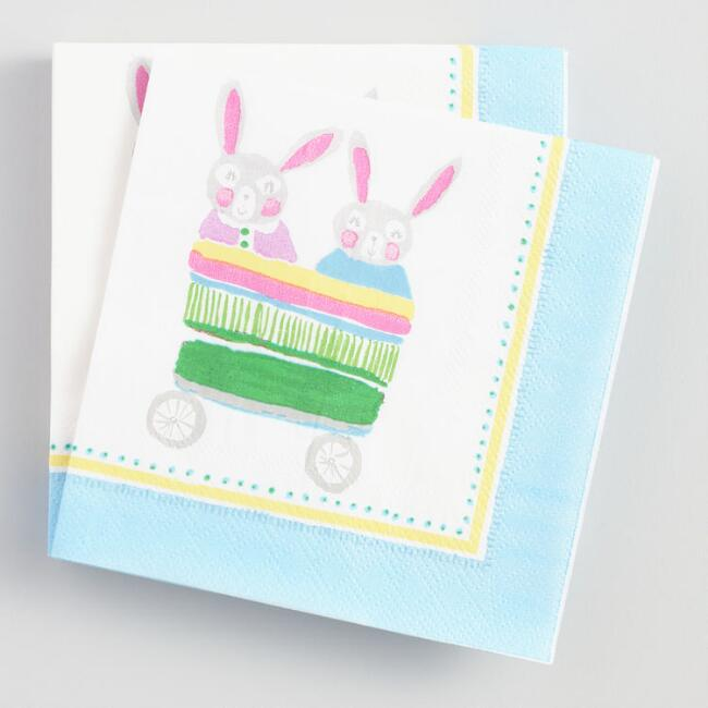 Bunny Wagon Beverage Napkins Set of 2
