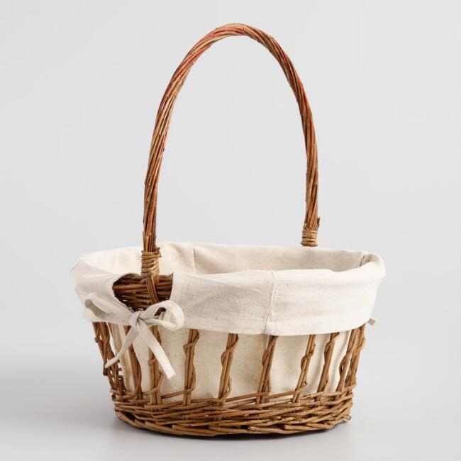 Willow Twig Basket with Canvas Lining