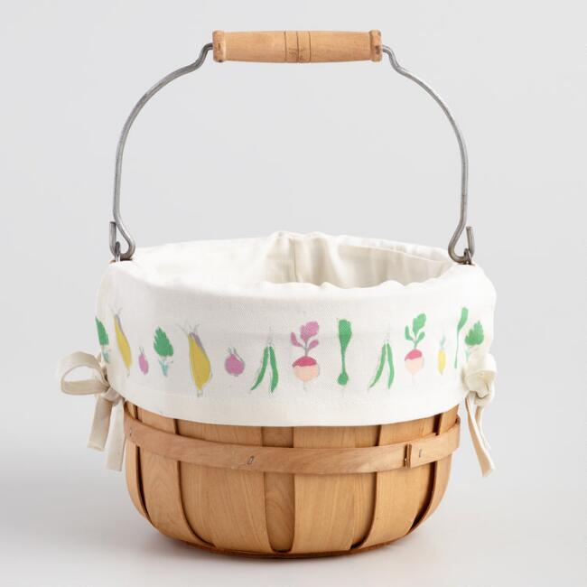 Bushel Basket with Printed Canvas Liner