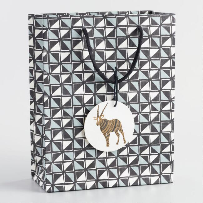 Large Cape Town Black and Ivory Triangle Handmade Gift Bag