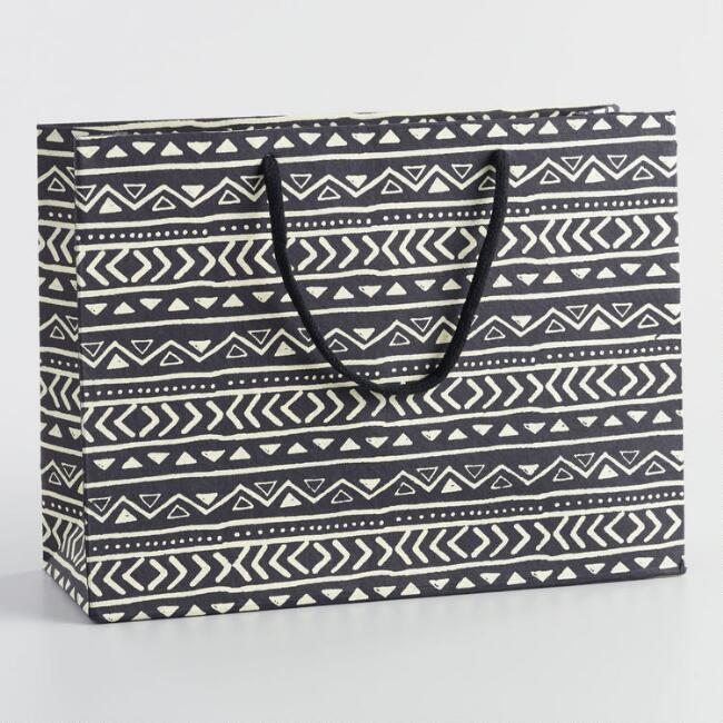 Large Cape Town Black Geometric Stripe Handmade Gift Bag