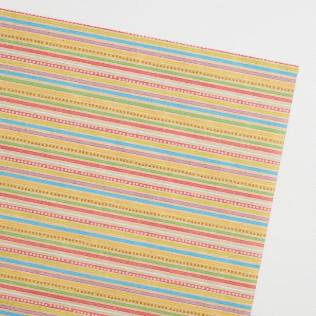 Llama Birthday Stripe Wrapping Paper Sheets Set of 4
