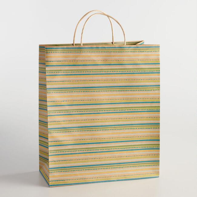 Jumbo Spring Stripe Kraft Gift Bag