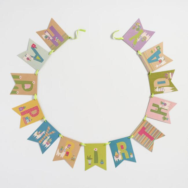 Llama Die Cut Happy Birthday Kraft Garland