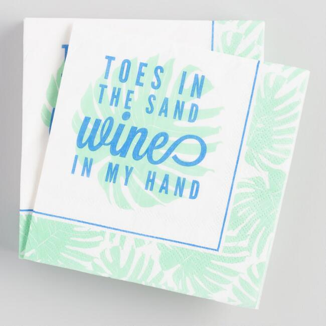 Toes in the Sand Wine in My Hand Beverage Napkins 20 Count