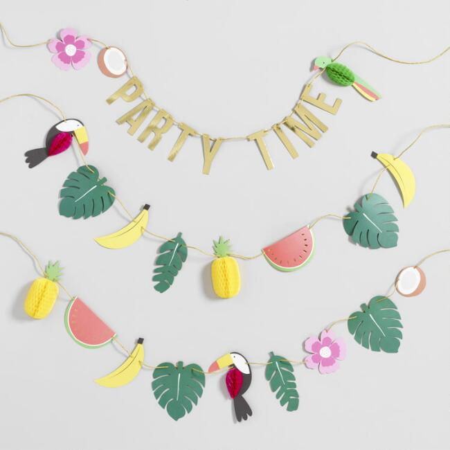 Tiki Party Time Honeycomb Paper Garland