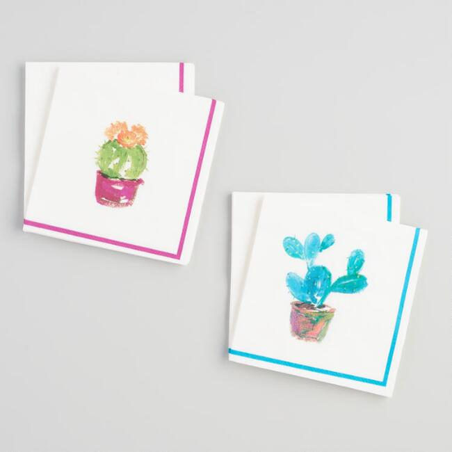 Cactus Beverage Napkins Set of 2