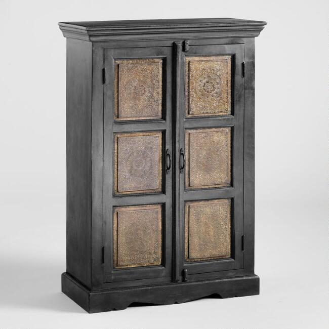 Wood and Embossed Metal Cabinet