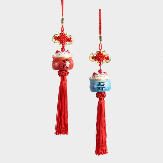 Lucky Cats Hanging Decor Set of 2