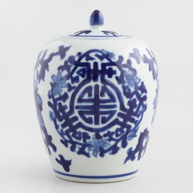 Blue and White Oval Porcelain Ginger Jar