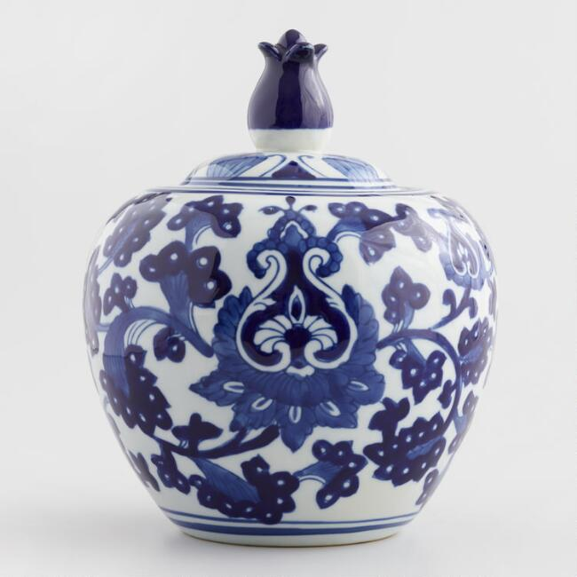 Blue and White Round Porcelain Ginger Jar